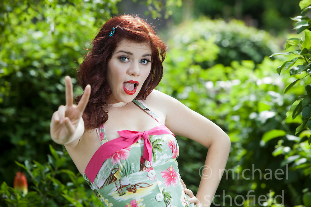 Ruby Deevine, vintage pin up model. Case study shoot of Spice Girls fans, then and now..©Michael Schofield.