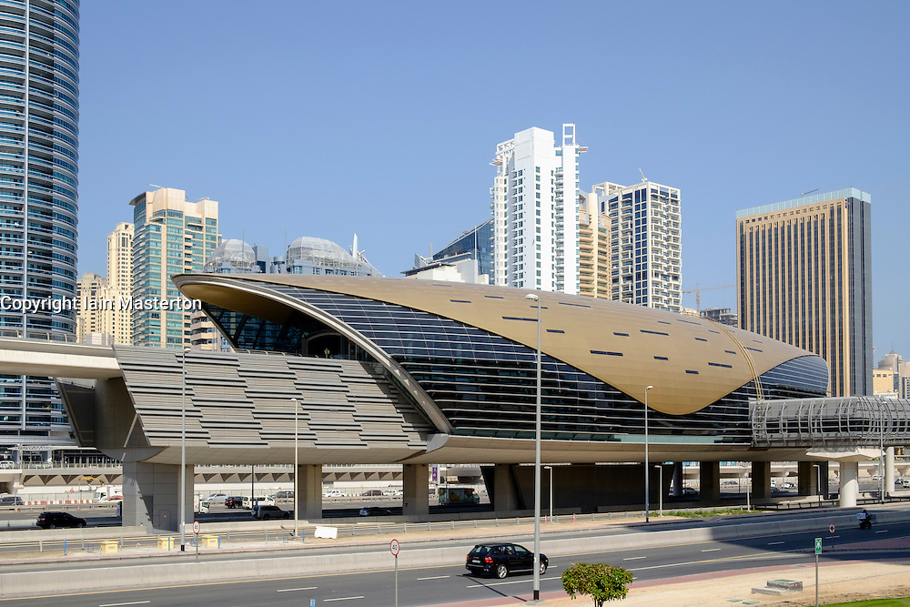 Modern elevated railway station for Dubai Metro system in United Arab Emirates