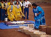 Baskets of food and candy that children will grab following Carla's runs, Carla Goseyun's White Mountain Apache Traditional Sunrise Ceremony, Whiteriver, Arizona.