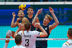 09-08-2019 NED: FIVB Tokyo Volleyball Qualification 2019 / Belgium 0 USA, Rotterdam<br /> First match pool B in hall Ahoy between Belgium vs. USA (1-3) for one Olympic ticket / Micah Christenson #11 of USA, Maxwell Holt #12 of USA