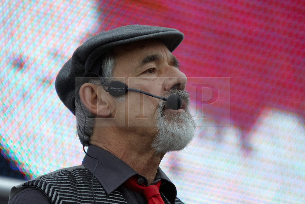 © London News Pictures. 16/01/14 Actor Roger Lloyd Pack died yesterday evening (15th January 2014) FILE PICTURE:   08/10/2011. LONDON, UK. Actor Roger Lloyd Pack sings to the crowd at the Anti War Mass Assembly in Trafalgar Square. The rally was held to coincide with the 10th anniversary of the invasion of Afghanistan. Photo credit :  Cliff Hide/LNP