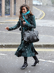© Licensed to London News Pictures. 11/03/2013.Spring Snow blizzard in the City near Aldgate Station,London..Snow Today (11.03.13) in the City of London..Photo credit : Grant Falvey/LNP