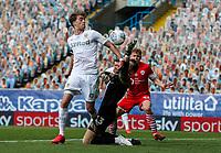 Leeds United's Patrick Bamford battles with Barnsley's Jack Walton<br /> <br /> Photographer Alex Dodd/CameraSport<br /> <br /> The EFL Sky Bet Championship - Leeds United v Barnsley - Thursday 16th July 2020 - Elland Road - Leeds<br /> <br /> World Copyright © 2020 CameraSport. All rights reserved. 43 Linden Ave. Countesthorpe. Leicester. England. LE8 5PG - Tel: +44 (0) 116 277 4147 - admin@camerasport.com - www.camerasport.com