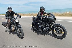 Jason Michaels and Leticia Cline riding Highway A1A along the coast during Daytona Bike Week 75th Anniversary event. FL, USA. Thursday March 3, 2016.  Photography ©2016 Michael Lichter.
