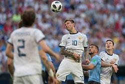 June 25, 2018 - Samara, Russia - Fedor Smolov of Russia in action during the 2018 FIFA World Cup Russia group A match between Uruguay and Russia at Samara Arena on June 25, 2018 in Samara, Russia. (Credit Image: © Foto Olimpik/NurPhoto via ZUMA Press)