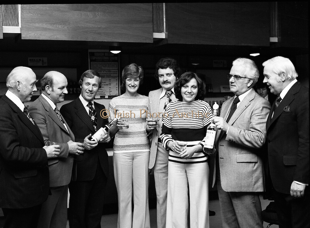 Leopardstown Reception - Whiskey 03/06/1976.Hedges & Butler Ireland Ltd., reception for Bell's Whiskey at Leopardstown,  Pictured.Pictured L-R, Mr. Michael Walsh, (Sandyford House), Vice-President, National Vintners Association, Mr. Larry Ryan, Chairman, Dublin Licensed Vintners Association, Mr. G.R. Newbold, (Bells), Miss Jone Butterly, (Hedges & Butler), Mr. Tom Kennedy, (Hedges & Butler), Miss Elizabeth Murphy, (Hedges & Butler), Mr. E.P. McDonald, (Hedges & Butler), Mr. D. Dean, (Bells).