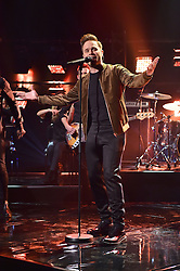 Olly Murs performing during filming of the Graham Norton Show at The London Studios, south London, to be aired on BBC One on Friday evening.