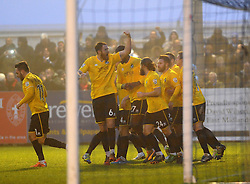 Bristol Rovers celebrate Bristol Rovers' Nathan Blissett  goal- Photo mandatory by-line: Neil Brookman/JMP - Mobile: 07966 386802 - 04/01/2015 - SPORT - football - Nuneaton - James Parnell Stadium - Nuneaton Town v Bristol Rovers - Vanarama Conference