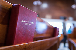 18 November 2018, Bogotá, Colombia: Himn book entitled 'Evangelical Lutheran Hymns'. The church of San Lucas ('Saint Lucas') of the Evangelical Lutheran Church of Colombia, brings together a congregation of some 100 people in the southern areas of Bogotá. Located in the Kennedy area, the church has recently celebrated 50 years. As part of its ministry, the church runs a school and college, The Colegio Evangelico Luterano de Colombia (CELCO) San Lucas, offering education to just over 1,000 students aged 3-18. The school started as a social initiative offering care for children aged 0-4 in Bogotá's less wealthy neighbourhood, allowing the parents opportunities to go to work. 36 years after its foundation, the school employs 56 staff, of which 36 are teachers.