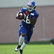 Jayron Hosley in action during the 2013 New York Giants Training Camp at the Quest Diagnostics Training Centre, East Rutherford, New Jersey, USA. 29th July 2013. Photo Tim Clayton.