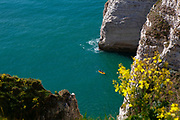Kayaking at The Needle - L'Aiguille - Etretat, Normandy, France