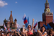 Moscow, Russia, 12/06/2010..Crowds in Red Square at a concert to mark the Russia Day national holiday.