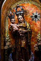 """The patron saint """"Virgen de los Remedios"""", Church of La Encarnacion,  in the hill top town of Montefrio, Granada Province, Andalusia, Spain."""