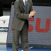 Erdemir's coach Ahmet CAKI during their Turkish Basketball league match Efes Pilsen between Erdemir at the Sinan Erdem  Arena in Istanbul Turkey on Saturday 29 January 2011. Photo by TURKPIX