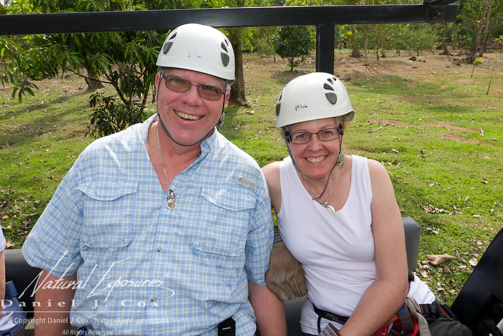 Paul and Christine on their way to our first zip line platform. Costa Rica.