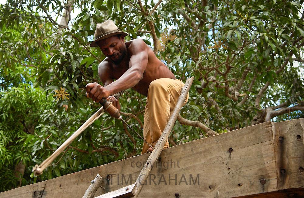 Carpenter Building a Boat, Zanzibar
