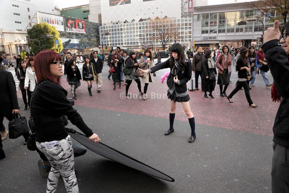 young aspiring female model posing for a test shoot Japan Tokyo
