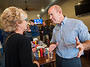 03 JANUARY 2020 - MONTEZUMA, IOWA: JOHN DELANEY talks to a woman who asked him about health care during a campaign stop in a cafe in Montezuma, IA. Delaney, a former Democratic Congressman from Maryland, was the first Democrat to declare his candidacy for President in 2020, He has held more than 400 campaign events in Iowa since declaring his candidacy. Iowa traditionally holds the first selection event of the presidential election cycle. The Iowa Caucuses are Feb. 3.    PHOTO BY JACK KURTZ