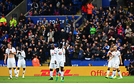 Dejected Watford players look on after Leicester city score a goal to go 1-0 up. Premier league match, Leicester City v Watford at the King Power Stadium in Leicester, Leicestershire on Saturday 6th May 2017.<br /> pic by Bradley Collyer, Andrew Orchard sports photography.