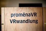 Title of the fantastic installation VRWANDLUNG at the Goethe Institut Prag.