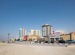 Modern restaurant and cafe buildings on Corniche in Ajman emirate in United Arab Emirate