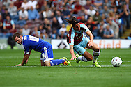 Alan Judge of Brentford and George Boyd of Burnley collide while going for the ball. Skybet football league championship match, Burnley  v Brentford at Turf Moor in Burnley, Lancs on Saturday 22nd August 2015.<br /> pic by Chris Stading, Andrew Orchard sports photography.