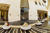 Lobby, Raffles Dubai Hotel,Dubai, United Arab Emirates (the hotel is Egyptian themed and shaped like a pyramid)