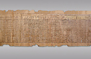 Ancient Egyptian Book of the Dead papyrus - Spell 17 about the God Atum, Iufankh's Book of the Dead, Ptolemaic period (332-30BC).Turin Egyptian Museum. Grey Background<br /> <br /> the spell is one of the ongest in the Book of the Dead and one of its most complex frequently used in many other Books of the Dead. It is about the nature of the creator God Atum and is meant to make sure the deceased is capable of demonstrating his of her knowledge of religious secrets<br /> <br /> The translation of  Iuefankh's Book of the Dead papyrus by Richard Lepsius marked a truning point in the studies of ancient Egyptian funereal studies. .<br /> <br /> If you prefer to buy from our ALAMY PHOTO LIBRARY  Collection visit : https://www.alamy.com/portfolio/paul-williams-funkystock/ancient-egyptian-art-artefacts.html  . Type -   Turin   - into the LOWER SEARCH WITHIN GALLERY box. Refine search by adding background colour, subject etc<br /> <br /> Visit our ANCIENT WORLD PHOTO COLLECTIONS for more photos to download or buy as wall art prints https://funkystock.photoshelter.com/gallery-collection/Ancient-World-Art-Antiquities-Historic-Sites-Pictures-Images-of/C00006u26yqSkDOM