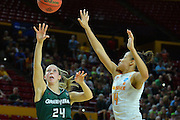 March 18, 2016; Tempe, Ariz;  Green Bay Phoenix guard Allie LeClaire (24) shoots over Tennessee Lady Volunteers guard Andraya Carter (14) during a game between No. 7 Tennessee Lady Volunteers and No. 10 Green Bay Phoenix in the first round of the 2016 NCAA Division I Women's Basketball Championship in Tempe, Ariz.