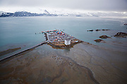 Aerial view of the Port of  Valdez Container and Grain Terminals on an island near Valdez, Alaska.