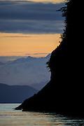 Chugach Mountains at dusk from HErring Bay, Prince William Sound, Alaska