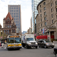 Bus in front of Trinity Church in Copley Square, Boston