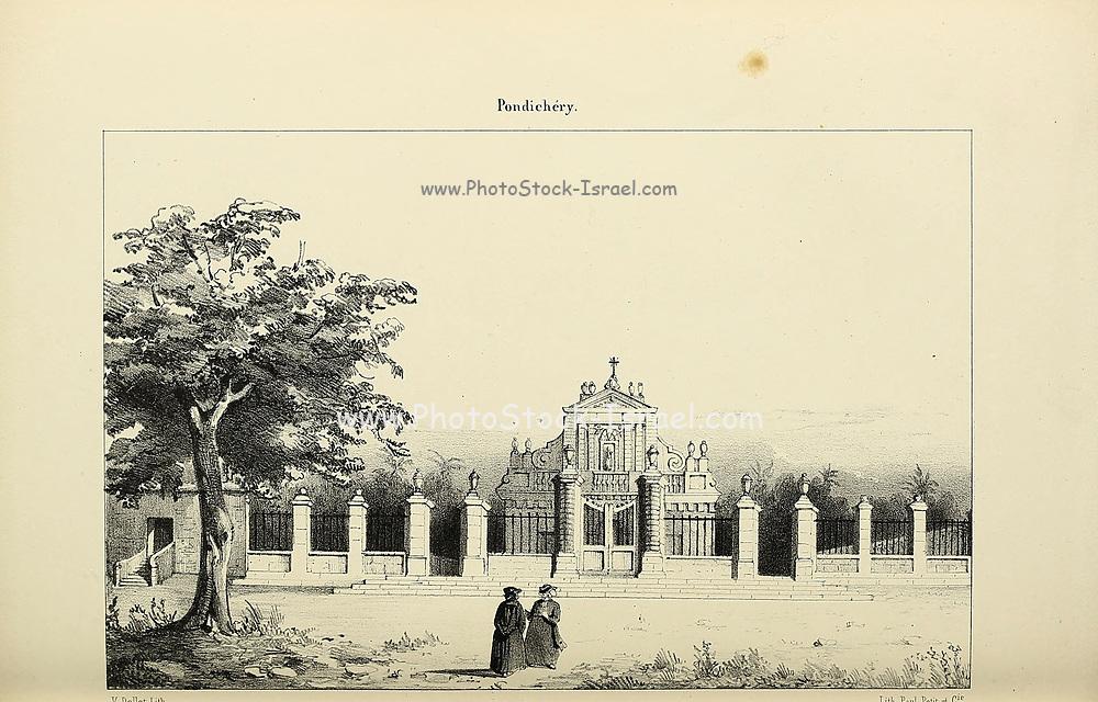 Pondicherry (here as Pondichery), India from Souvenirs d'un voyage dans l'Inde exécuté de 1834 à 1839 (A voyage to India) by Delessert, Adolphe, published in Paris in 1843