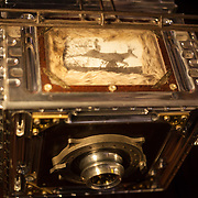 """""""Modern Industry"""" camera, top. 1 of 1. <br /> 8""""x10"""" film camera made from aircraft aluminum, titanium, brass, copper, stainless steel, forged steel, wood, glass, acrylic, and industry artifacts."""