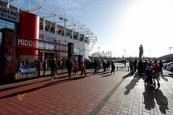 Fans arrive at Middlesbrough's Riverside Football Stadium before the Sky Bet Championship match at The Riverside Stadium, Middlesbrough.