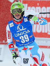29.12.2014, Hohe Mut, Kühtai, AUT, FIS Ski Weltcup, Kühtai, Slalom, Damen, 2. Durchgang, im Bild Adeline Baud (FRA) // Adeline Baud of France reacts after 2nd run of Ladies Giant Slalom of the Kuehtai FIS Ski Alpine World Cup at the Hohe Mut Course in Kuehtai, Austria on 2014/12/29. EXPA Pictures © 2014, PhotoCredit: EXPA/ Erich Spiess