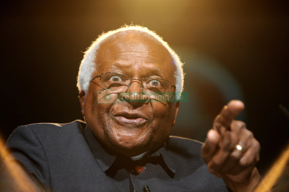 Archbishop Desmond Tutu speaks during the One Young World Summit ceremony at Old Billingsgate, London.