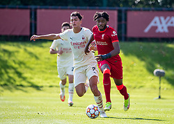 LIVERPOOL, ENGLAND - Wednesday, September 15, 2021: Liverpool's James Balagizi (R) and AC Milan's Enrico Di Gesu' during the UEFA Youth League Group B Matchday 1 game between Liverpool FC Under19's and AC Milan Under 19's at the Liverpool Academy. Liverpool won 1-0. (Pic by David Rawcliffe/Propaganda)