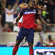 Lovel Palmer, (front), Chicago Fire and Tim Cahill, New York Red Bulls, challenge for the ball during the New York Red Bulls Vs Chicago Fire, Major League Soccer regular season match at Red Bull Arena, Harrison, New Jersey. USA. 10th May 2014. Photo Tim Clayton