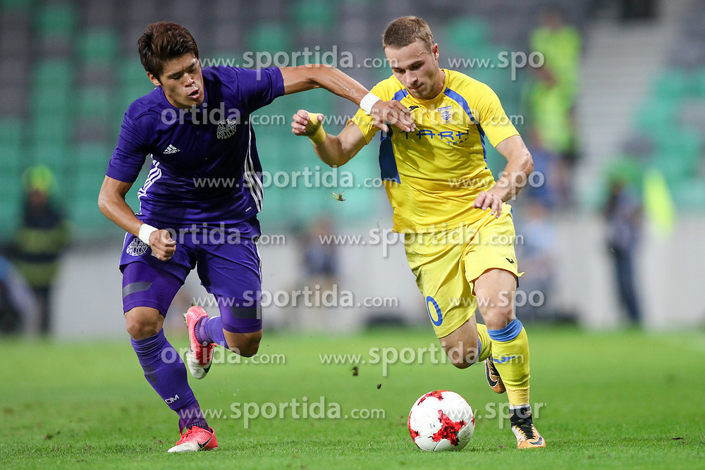 Hiroki Sakai of Olympic Marseille and Jan Repas of NK Domzale during football match between NK Domzale and Olympique de Marseille in First game of UEFA Europa League playoff round, on August 17, 2017 in SRC Stozice, Ljubljana, Slovenia. Photo by Morgan Kristan / Sportida