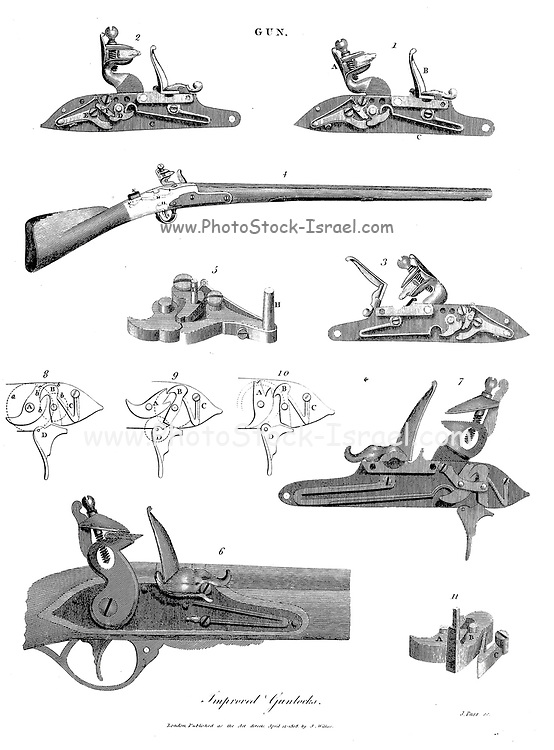 Improved gunlocks Copperplate engraving From the Encyclopaedia Londinensis or, Universal dictionary of arts, sciences, and literature; Volume IX;  Edited by Wilkes, John. Published in London in 1811