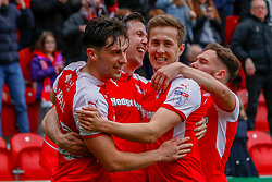 Rotherham United players celebrate their third goal againstFleetwood Town - Mandatory by-line: Ryan Crockett/JMP - 07/04/2018 - FOOTBALL - Aesseal New York Stadium - Rotherham, England - Rotherham United v Fleetwood Town - Sky Bet League One