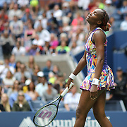2016 U.S. Open - Day 8  Venus Williams of the United States in action against Karolina Pliskova of the Czech Republic  in the Women's Singles round four match on Arthur Ashe Stadium on day eight of the 2016 US Open Tennis Tournament at the USTA Billie Jean King National Tennis Center on September 5, 2016 in Flushing, Queens, New York City.  (Photo by Tim Clayton/Corbis via Getty Images)