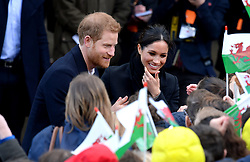 Prince Harry and Meghan Markle during a visit to Cardiff Castle, Thursday January 18th, 2018