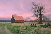 Cloudy Sunset, Olsen Barn, Lake Almanor, Mt. Dyer, Chester, California, Sierra Nevada Mountains