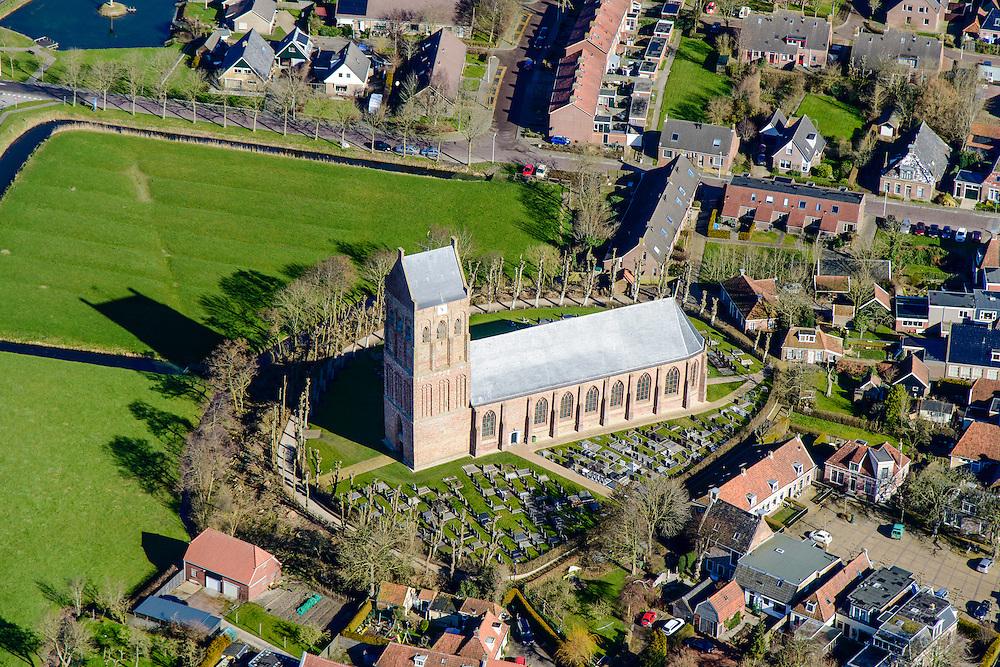 Nederland, Friesland, Gemeente Ferweradeel, 28-02-2016; Ferwerd (Fries: Ferwert) met de Sint Martinuskerk. Terpdorp en beschermd dorpsgezicht.<br /> Village on dwelling mound and protected village, northern Friesland.<br /> <br /> <br /> luchtfoto (toeslag op standard tarieven);<br /> aerial photo (additional fee required);<br /> copyright foto/photo Siebe Swart