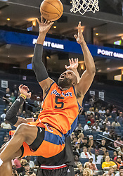 July 6, 2018 - Oakland, CA, U.S. - OAKLAND, CA - JULY 06: Baron Davis (5) co-captain of 3's Company on a rebound play during game 1 in week three of the BIG3 3-on-3 basketball league on Friday, July 6, 2018 at the Oracle Arena in Oakland, CA (Photo by Douglas Stringer/Icon Sportswire) (Credit Image: © Douglas Stringer/Icon SMI via ZUMA Press)