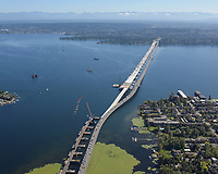 Aerial view of the SR 520 Bridge Replacement project, taken from over Union Bay on the Seattle side of Lake Washington, looking toward the Eastside at Evergreen Point.