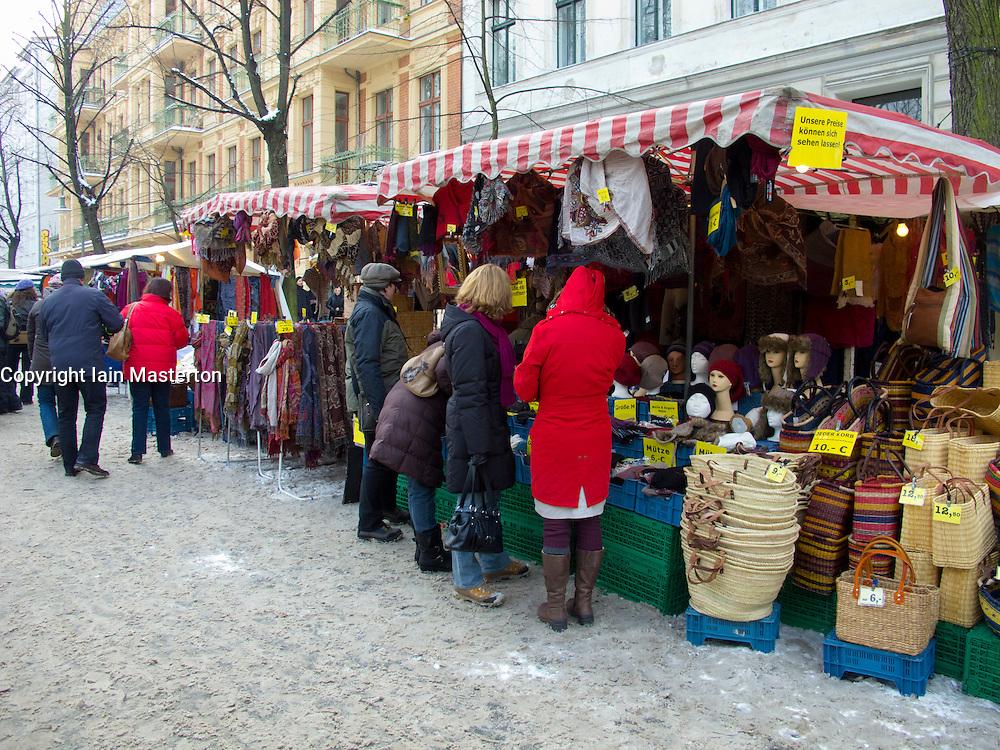 Busy street market during winter in Prenzlauer Berg  in Berlin Germany