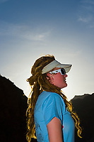 "River Guide Amanda LaRiche, Camping at ""Cremation"", Whitewater rafting trip (oar trip) on the Colorado River in Grand Canyon, Grand Canyon National Park, Arizona USA"